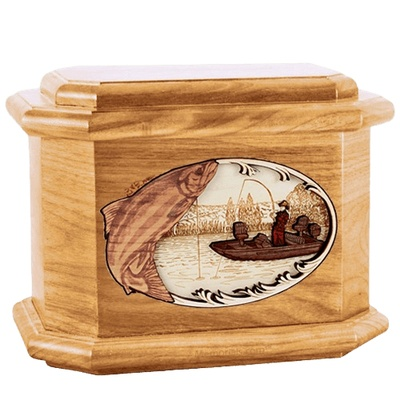 Salmon Fishing Oak Octagon Cremation Urn