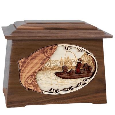 Salmon Fishing Walnut Aristocrat Cremation Urn