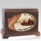 Salmon Fishing Mahogany Cremation Urn For Two
