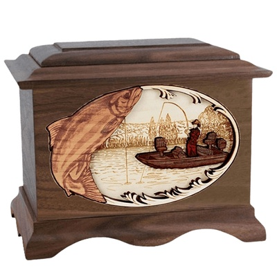 Salmon Fishing Walnut Cremation Urn