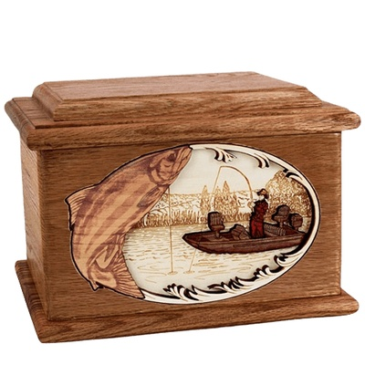 Salmon Fishing Walnut Memory Chest Cremation Urn