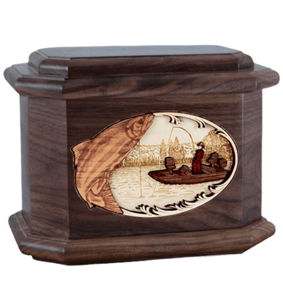 Salmon Fishing Walnut Octagon Cremation Urn