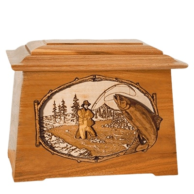 Salmon Stream Mahogany Aristocrat Cremation Urn