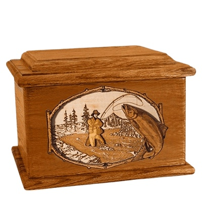 Salmon Stream Mahogany Memory Chest Cremation Urn