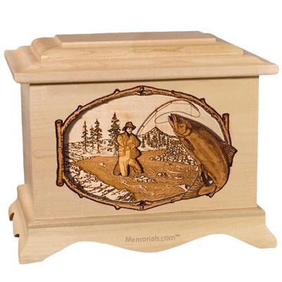 Salmon Stream Maple Cremation Urn