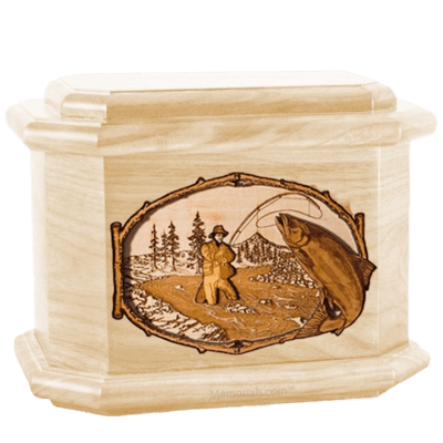 Salmon Stream Maple Octagon Cremation Urn