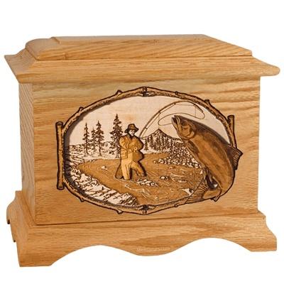 Salmon Stream Oak Cremation Urn
