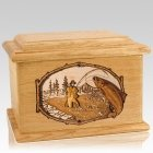 Salmon Stream Oak Memory Chest Cremation Urn