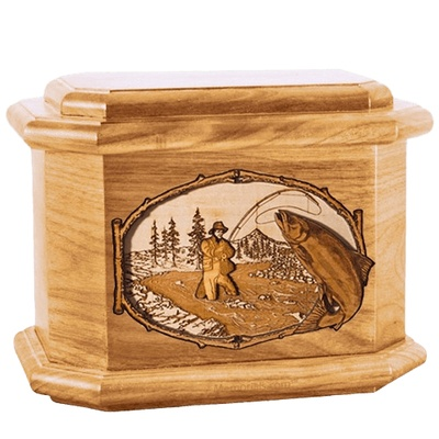 Salmon Stream Oak Octagon Cremation Urn