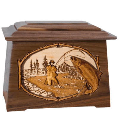 Salmon Stream Walnut Aristocrat Cremation Urn