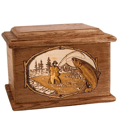 Salmon Stream Walnut Memory Chest Cremation Urn