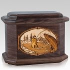 Salmon Stream Walnut Octagon Cremation Urn