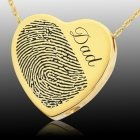 Script Heart 14k Gold Cremation Print Keepsake