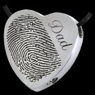 Script Heart Stainless Cremation Print Keepsake