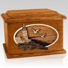 Sea Coast Mahogany Memory Chest Cremation Urn