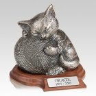Silver Cat Cremation Urn with Base