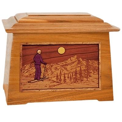 Skiing Mahogany Aristocrat Cremation Urn