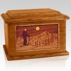 Skiing Mahogany Memory Chest Cremation Urn