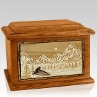 Snowmobile Mahogany Memory Chest Cremation Urn