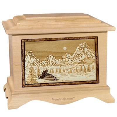 Snowmobile Maple Cremation Urn