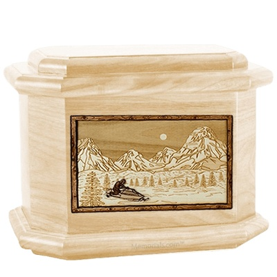 Snowmobile Maple Octagon Cremation Urn