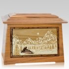 Snowmobile Oak Aristocrat Cremation Urn