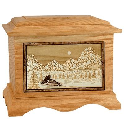 Snowmobile Oak Cremation Urn