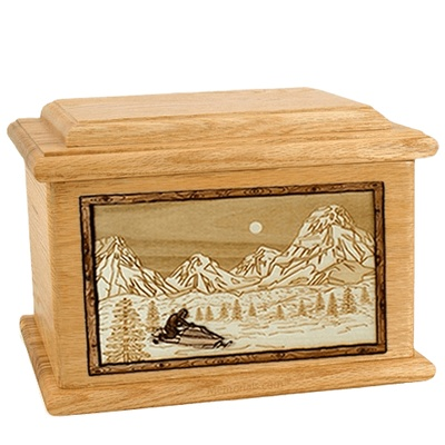Snowmobile Oak Memory Chest Cremation Urn