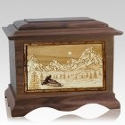 Snowmobile Walnut Cremation Urn