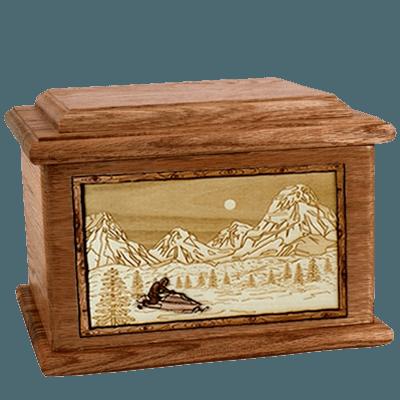 Snowmobile Walnut Memory Chest Cremation Urn