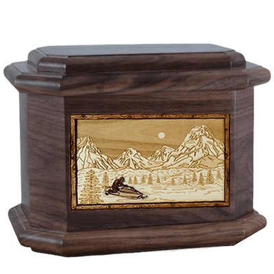 Snowmobile Walnut Octagon Cremation Urn