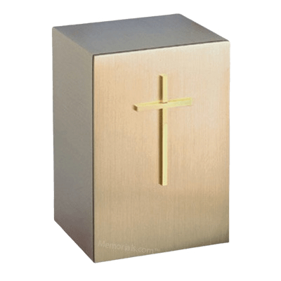 Solitude Protestant Cross Bronze Cremation Urn