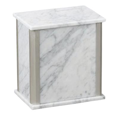 Solitude Silver Bianco Carrara Marble Urn