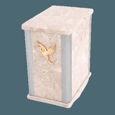 Solitude Silver Perlato Marble Urn