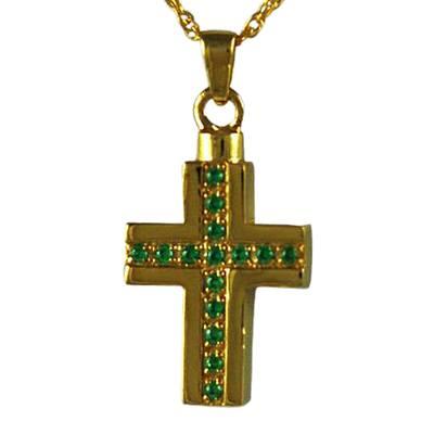 Emerald Crystal Cross Keepsake Pendant IV