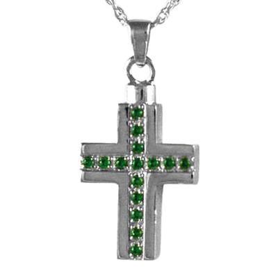 Emerald Crystal Cross Keepsake Pendant