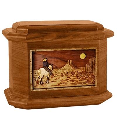 Horse Moon Mahogany Octagon Cremation Urn