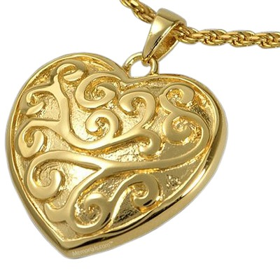 Swirling Heart Cremation Pendant IV