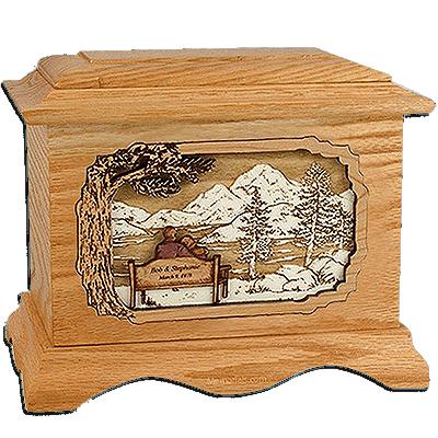 Together Always Oak Cremation Urn for Two