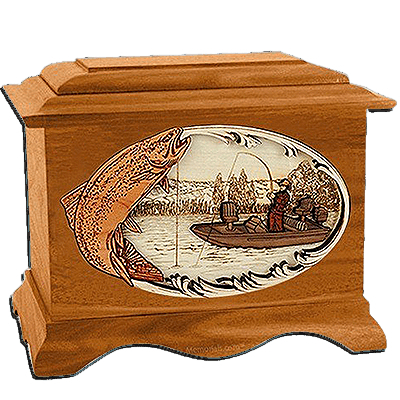 Trout Fishing Mahogany Cremation Urn for Two