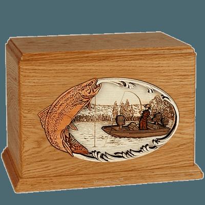 Trout Fishing Mahogany Companion Urn