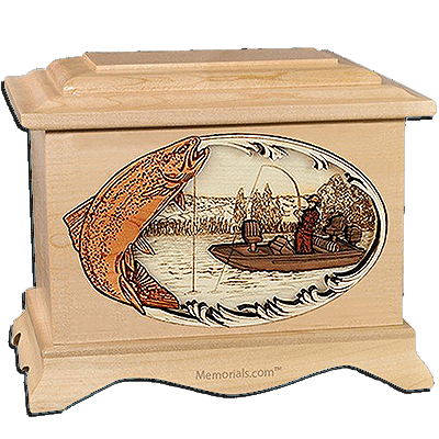 Trout Fishing Maple Cremation Urn for Two