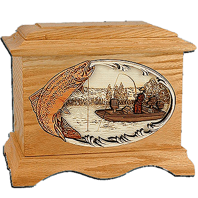 Trout Fishing Oak Cremation Urn for Two