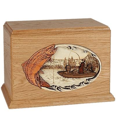 Trout Fishing Oak Companion Urn