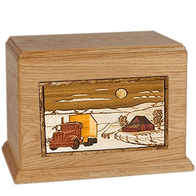 Trucker Oak Companion Urn