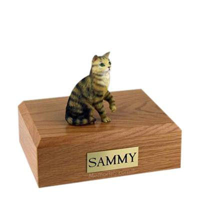 Tabby Brown Sitting Large Cat Cremation Urn
