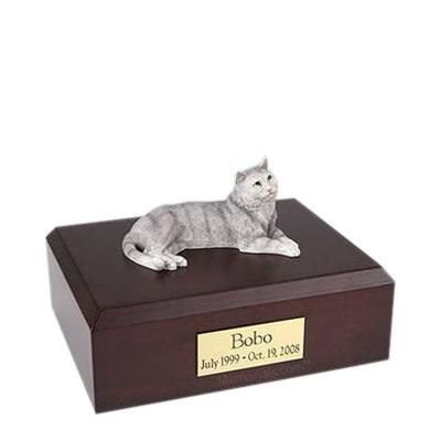Tabby Gray Medium Cat Cremation Urn