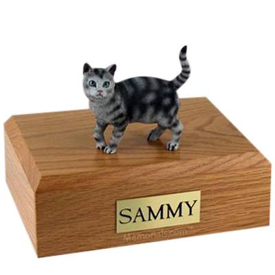 Tabby Silver Standing X Large Cat Cremation Urn