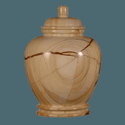 Teakwood Elegant Marble Cremation Urn