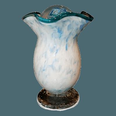 Teal Cloud Glass Companion Cremation Urn